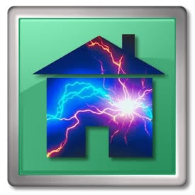 Protecting your house from lightning - House icon with lightning